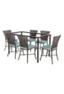 Jogo De Jantar 6 Cadeiras Turquia Pedra Ferro A22 E 1 Mesa Retangular Sem Tampo Ideal Para Área Externa Coberta
