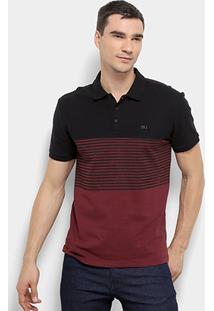Camisa Polo Calvin Klein Mc Est Listra Frontal Masculina - Masculino-Preto+Bordô