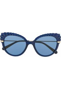 Dolce & Gabbana Eyewear Armação De Óculos Gatinho Com Detalhe De Cristais - Azul