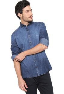 Camisa Jeans Dudalina Reta Estonada Azul