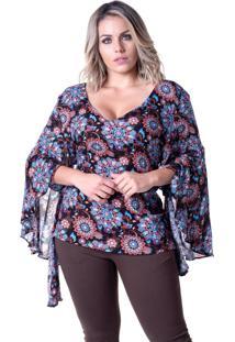 Blusa Em Viscose Meiruxa Evazê Multicolor - Tricae