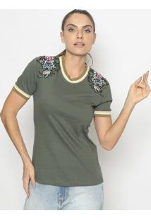 Blusa Floral Com Patch- Verde Militar & Vermelha- Fafashion 500