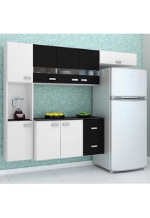 Cozinha Compacta Suspensa 4 Peças Julia - Poquema - Branco / Preto