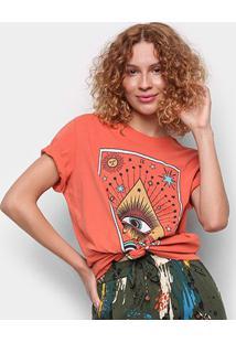 Camiseta Cantão Boyfriend Olhar Do Artista Manga Curta Feminina - Feminino-Laranja