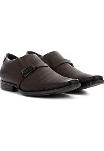 Sapato Social Couro Pegada Com Fivela Masculino - Masculino-Marrom