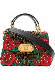 Dolce & Gabbana Bolsa Tote De Couro Com Strass - Estampado