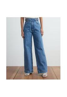 Calça Wide Leg Jeans Cós Com Ajuste Em Fivela