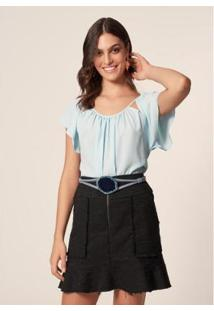 Blusa Chiffon Franzido Mob Decote Sky Feminina - Feminino-Azul Claro