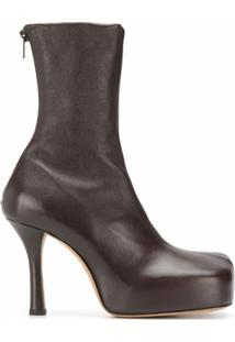 Bottega Veneta Ankle Boot Com Bico Quadrado - Marrom