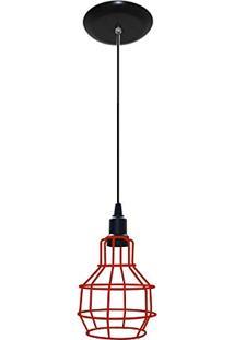 Luminaria Estilo Retrô Aramado Modelo Pêra - Vermelho