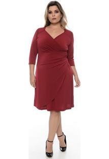 Vestido Drapeado Vermelho Plus Size