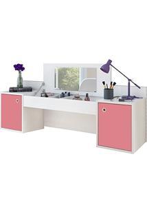 Penteadeira Camarim Suspenso Atração Com Espelho E 02 Portas Branco/Pink - Albatroz