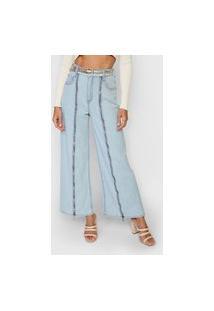 Calça Jeans Forum Pantacourt Zíperes Azul