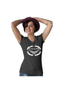 Camiseta Feminina Gola V Cellos Corp Premium W Preto