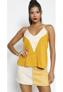 Blusa Com Recorte - Amarela & Branca - Colccicolcci