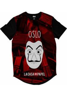Camiseta Longline Attack Life La Casa De Papel Oslo Sublimada Masculina - Masculino-Vermelho