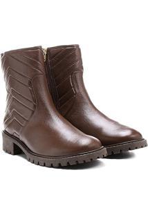 Bota Couro Biker Shoestock Matelassê Feminina - Feminino-Marrom