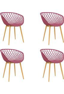 Conjunto Com 4 Cadeiras Clarice Cereja