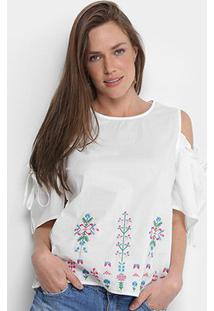 Blusa Open Shoulder Lily Fashion Com Bordado Feminina - Feminino-Branco