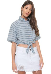 Camisa Cropped Linho Redley Listrada Azul