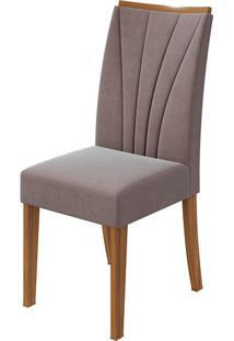 Cadeira Apogeu Velvet Rosê Rovere Naturale