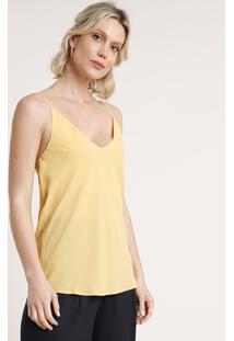 Regata Feminina Estampada De Poá Alça Fina Decote V Amarela