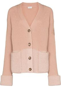 Moncler Colourblock Ribbed-Knit Cardigan - Rosa