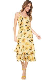 63b217512 R$ 389,90. Dafiti Vestido Lez A Lez Midi Babados Amarelo