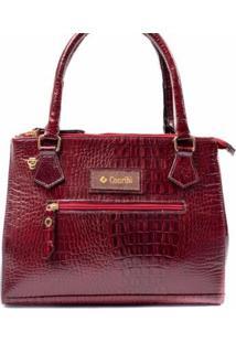 Bolsa Couribi Couro Legítimo Alça Transversal Mini Bag Repartições - Feminino-Bordô