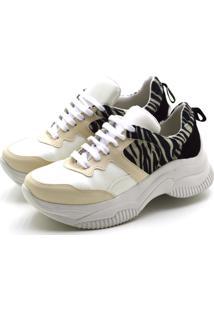 Tênis Flor Da Pele Sneakers Chuncky Recortes Em Napa Creme Com Detalhes Em Zebra