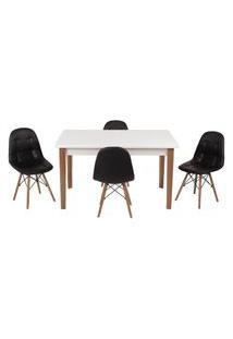 Conjunto Mesa De Jantar Luiza 135Cm Branca Com 4 Cadeiras Botonê - Preto