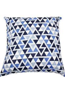 Capa Para Almofada Triângulos 43X43Cm Azul