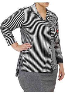 1a04ebca13 ... Camisa Manga 3 4 Plus Size Feminina Autentique Preto Branco