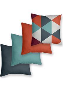 Kit 4 Capas De Almofadas Decorativas Own Triângulos E Lisas Laranja E Azul 45X45 - Somente Capa
