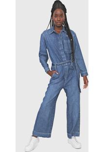 Macacão Jeans Gap Pantalona Utilitário Azul