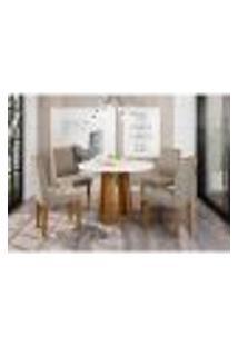 Conjunto De Mesa De Jantar Com Tampo De Vidro Isabela E 4 Cadeiras Ana Veludo Linho Off White E Cinza