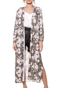 Kimono Longo Farrow Floral Oliva