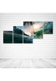 Quadro Decorativo - Wave Ocean Palms - Composto De 5 Quadros - Multicolorido - Dafiti