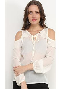 Blusa Favorita'S Manga Longa Open Shoulder Feminina - Feminino-Off White