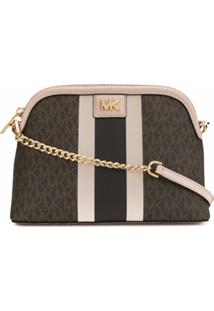 Michael Michael Kors Large Logo Dome Crossbody Bag - Marrom