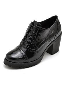 Bota Ankle Boot Em Couro E Verniz Leigam Preta