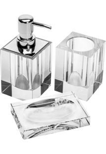 Conjunto De 3 Peças De Cristal Óptico Para Banheiro Fisher