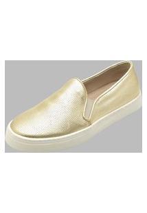Sapatilha Slip On Couro Dexshoes Dourado