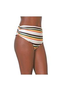 Calcinha Acqua By Classic Hot Pant Listrada Off-White/Laranja