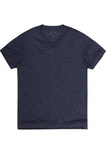 Camiseta Masculina Flamê Com Gola V Azul Marinho