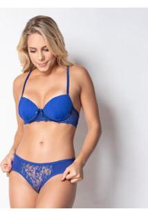 Conjunto Click Chique Nadador Drapeado - Feminino-Azul
