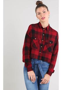 9f80171539 ... Camisa Feminina Cropped Estampada Xadrez Manga Longa Vermelha