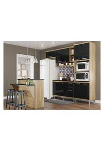Cozinha Completa Multimóveis Com 6 Peças Sicília 5844 Argila/Preto