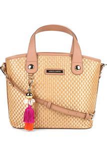 Bolsa Loucos & Santos Handbag Estruturada Chaveiro Palha Feminina - Feminino-Bege