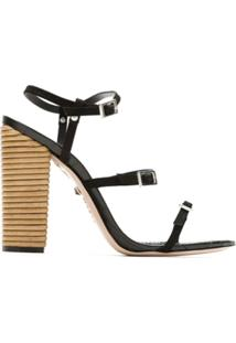 Schutz Sandália Salto Thin Stripes Honey - Preto